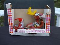 Vintage Yuletide Wind Up Santa and Reindeer Japan