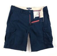 "TOMMY HILFIGER Cargo Shorts Men's Navy Blue Brushed Twill 10"" Shorts 78C2681-416"