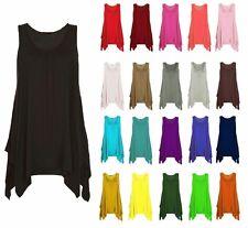 Women Ladies Asymmetric Gathered Hanky Hem Flared Long Tunic Vest Top Plus Size