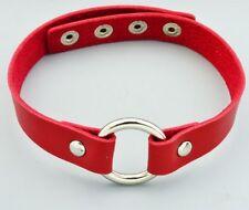 """Collier rouge """"cuir"""" avec anneau  / Mode / Punk / Glamour"""