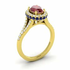 14k Yellow Gold 2.06CTW RUBY, SAPPHIRE DIAMOND HALO SOLITAIRE ENGAGEMENT RING