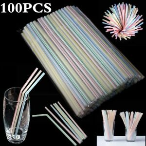 100 Plastic Flexible Bendy Straws Birthday Wedding Summer Party Cocktail Drink