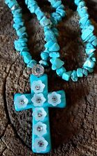TURQUOISE FLOWER CZ CROSS PENDANT STERLING SILVER BEADED NECKLACE