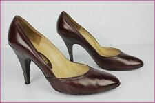 VINTAGE Escarpins BALLY France Tout Cuir Bordeaux T 37,5 BE