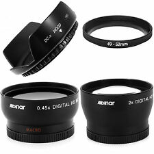 Wide angle + Macro + 2X Telephoto lens kit,hood fo Fuji Finepix X100 X100S X100T