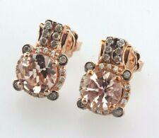 Le Vian 14K 585 Rose Gold 1.75ct Peach Morganite & 0.25ct Diamond Stud Earrings