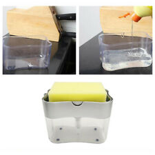 Kitchen Sink Soap Pump Dispenser + Sponge Holder Handy Refillable Soap Caddy