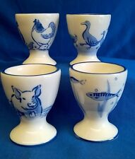 SET OF FOUR QUAIL CERAMIC BLUE & WHITE ANIMAL EGGCUPS EGG CUPS - CHOOSE YOUR SET