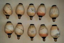 Vntg Oriental Japanese Lantern Lights Christmas Handpainted Ornaments Bx WORKING