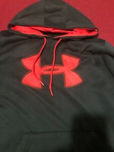 Under Armour Black with Red Logo Size L Hoodie