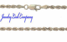 "14K Solid White Gold 3mm Diamond Cut Rope Chain 24"" 17grams"