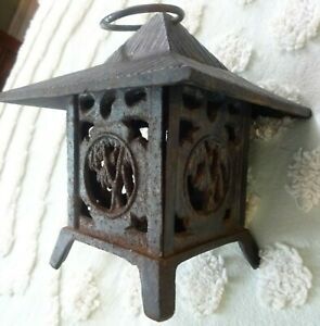 Old Small Cast Iron Japanese Lantern w Bamboo Cut Outs Pagoda Top w Ring Hanger
