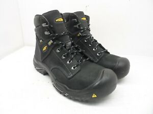 "Keen MEN'S MT VERNON 6"" STEEL TOE Work Boots Black Leather Size 9D"