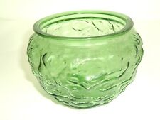 Vintage Round Green Glass Textured Bowl Vase EO Brody Co G108 Mod