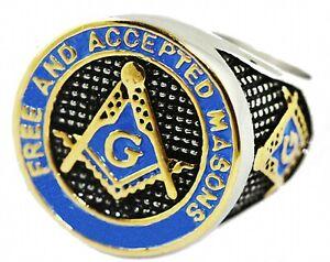 Masonic Ring Freemason Men's Stainless Steel Blue Enamel Gold Mason s 7.5-15