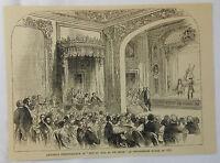 1887 magazine engraving ~ AMATEUR PERFORMANCE, DEVONSHIRE HOUSE