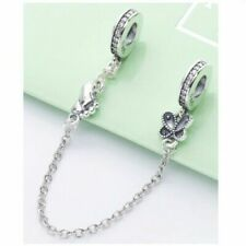 Newest 925 Sterling Silver Butterflies Safety Chain Charm For European Bracelet