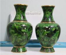 Chinese Copper Two Dragon Xi Zhu Cloisonne Flower  Vase Vases A Pair