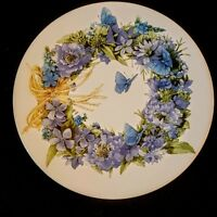 Marjolein Bastin Salad Plate Blue Skies Butterfly Wreath Retired Hallmark 1995