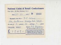 Nat. Union of Retail Confectioners 1955 Receipt Head off; High Holborn Rf 35325
