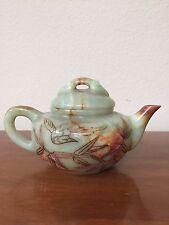 Antique Chinese Jade Green Orange Carved Tea Pot Bird Leaf Etching EXCELLENT