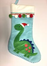 New dinosaur boys christmas stocking blue green pom poms 18""