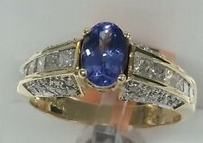 14k yellow gold gemstone Tanzanite fine ring 6x4mm 0.75ct ,0.75ct diamonds uniqu
