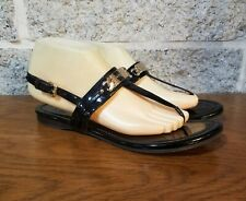 COACH A7799 CATERINE BLACK PATENT LEATHER STRAPPY THONG SANDAL SIZE US 8 SHOES