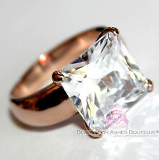 Steel Clear Cz Cubic Zirconia Ring Love Beauty for Ashes Rosegold Stainless