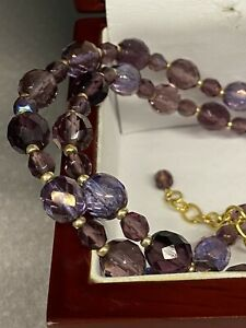 """Joan Rivers-Fire Polished Amethyst Czech Crystals Bead Necklace-34"""" Length"""