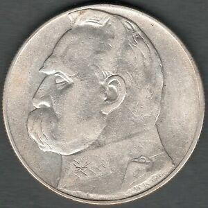 RARE Poland 10 Zlotych 1934  Pilsudski , High Grade UNC ?? ,  Silver coin (920)