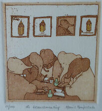 Harriet Brigdale, the board meeting, limited edition 12/100 etching,