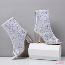 Women's Chunky Block Clear heel shoes Open toe Mesh Sequins Casual Anke Boots