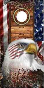 American Flag Eagle Camo LAMINATED Cornhole Wrap Bag Toss Skin Decal Sticker