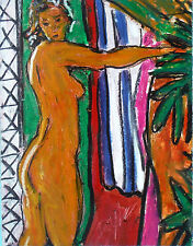 original oil stick painting standing female atomic nude US artist Kevin F Doyle