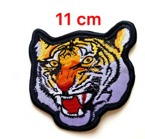 Bengal Tiger Biker Motorcycle 11cm  Sew On Iron On Patch Embroidered Badge New