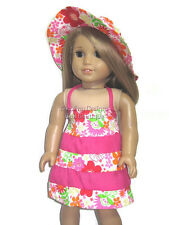 Summer Floral Dress & Hat Doll Clothes Made for 18 Inch American Girl 2 PC