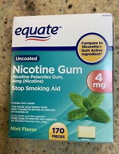 Equate Nicotine Polacrilex Gum, 4 mg, Mint Flavor 170 Pcs compare To Nicorette