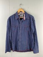 Black Pearl Men's Long Sleeve Snap Button Up Western Shirt Size XL Blue Stripe