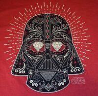 """Disney Star Wars """"Sugar Skull"""" Darth Vader T-SHIRT Mens Big &Tall 2XLT RED NWT"""