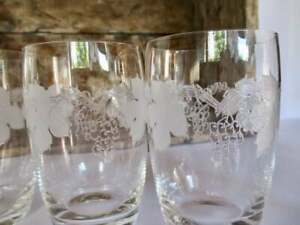 1960s Etched Glass Tumblers Grapes Pattern Vintage x 5