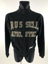 Russell Athletic Men's Black Full Zip High Cotton Jumper Size S