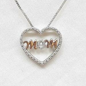 .16ctw H-SI Diamond SOLID 10K Rose Gold 925 Sterling Silver Heart Necklace 3.8g