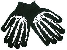 Gloves Skeleton Hand Bones Black size upto Adult Small Knitted with print Design