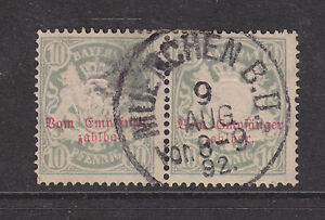 Bavaria Mi Porto 12Ax used pair 1876 10pf Postage Due