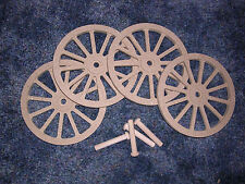 WAGON & CANNON WHEELS - 5  Inch Diameter MDF miniature wooden stage coach buggy