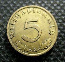 OLD COIN OF THIRD REICH GERMANY 5 REICHSPFENNIG 1937 A BERLIN SWASTIKA