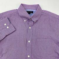 Banana Republic Button Up Shirt Men's Medium Long Sleeve Pink Navy Soft Slim Fit