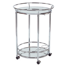 Home Royse Chrome Serving Cart With Three Bottle Holders 4 Casters  Kitchen NEW