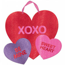 Valentines Day Party Glitter Love Candy Multi Hearts Mdf Hanging Decoration